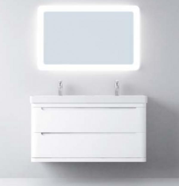 Avila Dos Loop 1200mm Double Basin & 2 Drawer Unit - Gloss White